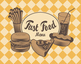 Vector Cover for fast food menu in retro style - 79528085