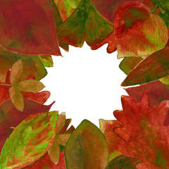 Set of red watercolor leaves background