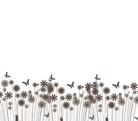 grass and butterflies vector silhouette