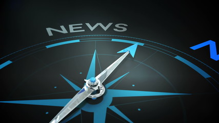 Compass pointing to news