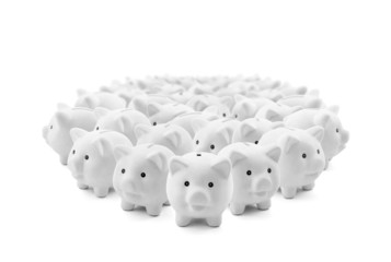 Large group of white piggy banks