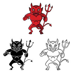 Coloring book devil cartoon character