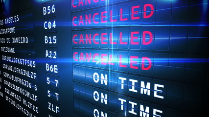 Departures board of cancelled flights