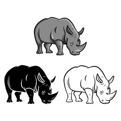 Coloring book rhinoceros cartoon character