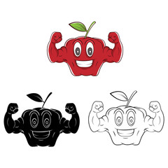 Coloring book Strong Apple cartoon character