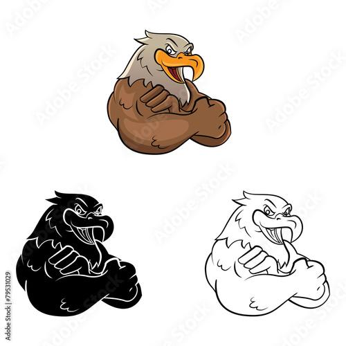 Coloring book eagle mascot cartoon character - 79531029
