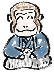 紋付袴の猿