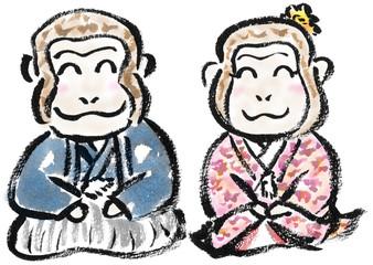 紋付袴と振袖の猿
