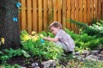 Little Boy Finds Easter Eggs