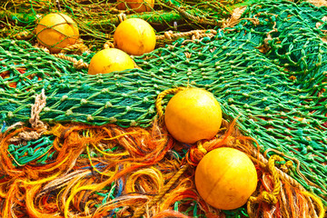 Lobster or fishing buoys with colorful nets