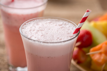 Strawberry Smoothies and Fruit Kabobs
