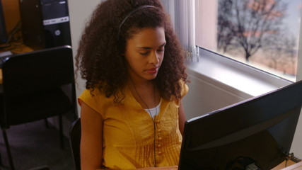 Student using computers in the computer room