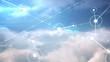Online community on blue sky screen
