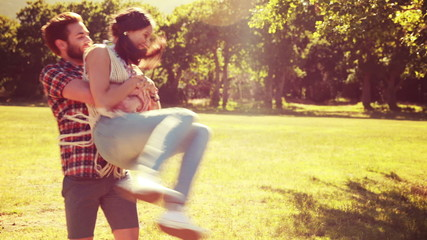 In high quality 4k format hipster couple having fun together