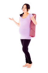 Pregnant asian woman isolated on white puzzled lost