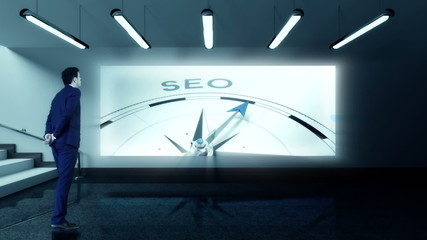 Businessman viewing seo compass clip