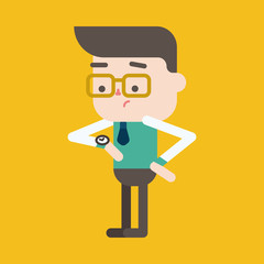 Character illustration design. Businessman on time cartoon,eps