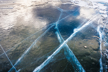 Natural blue ice on the lake.