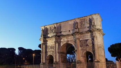 The top of Triumphal Arch Constantine. Rome, Italy. TimeLapse