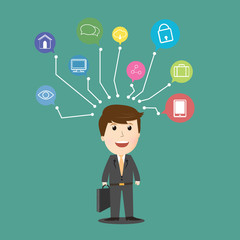 Vector of businessman internet of things .comcept