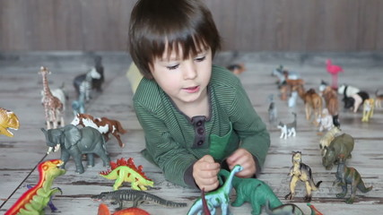 Happy little boy, playing with dinasours at home