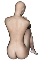 Naked woman sitting. Back view. Isolated on white.