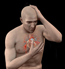 Man clutching his chest in pain.
