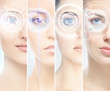 Women with a digital laser hologram on their eyes (ophthalmology