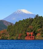 Fototapety Mountain Fuji at Lake Ashi, Hakone, Japan in Autumn