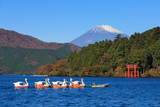 Fototapeta Mountain Fuji at Lake Ashi in autumn