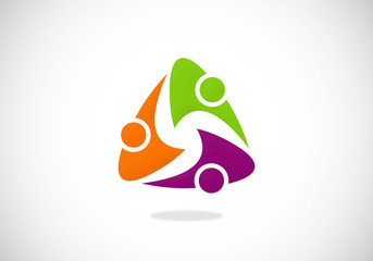 people triangle circle vector logo