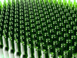 Background Made From Empty Beer Green Bottles