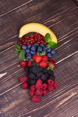 Strawberries, blueberries, blackberries, raspberries and currant