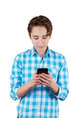 Teenager is typing the message on phone