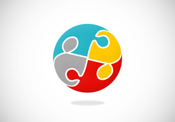 puzzle people connection vector logo