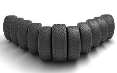 Car Wheels. Concept design. 3D render Illustration