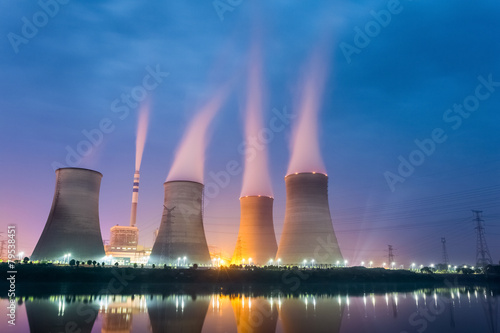 Leinwandbild Motiv power plant at night