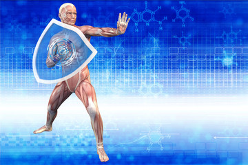 Man with a shield (anatomical vision) are protected from disease
