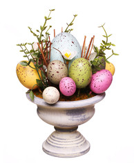 Colorful easter eggs in vase isolated on white