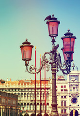 Lantern over Clock Tower in Venice. Italy