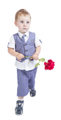 little boy with a rose