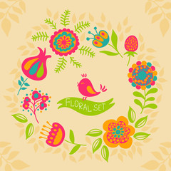 card with a floral wreath