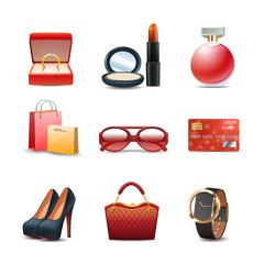 Women Shopping Icon Set