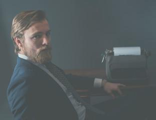 Handsome old-fashioned businessman