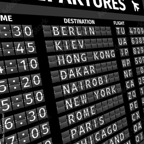 Airport departure board in perspective - 79541447