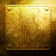 Golden metal plate on grid. Industrial construction