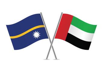 United Arab Emirates and Nauru flags. Vector illustration.