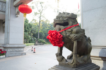 Chinese traditional style stone lion sculpture