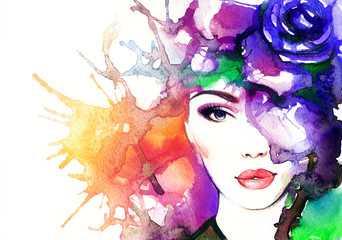 woman face.abstract watercolor .fashion background © Anna Ismagilova