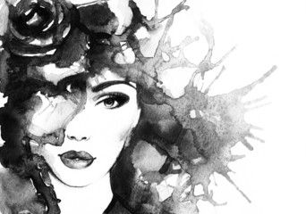 woman face.abstract watercolor .fashion background © Anna Ismagilova